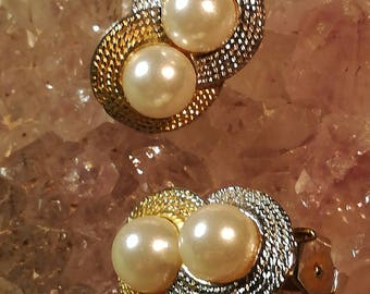 Earrings, earrings, clips, gold, silver, pearls, vintage