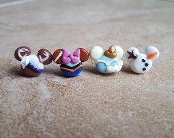 Elsa and Anna Mouse Inspired Polymer Earrings-Frozen Inspired Earrings