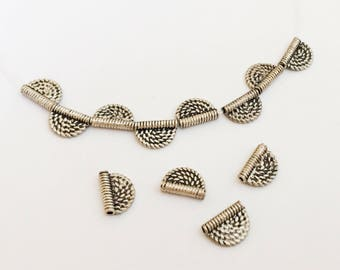 Vintage Sterling Silver Tube Beads, Bali Sterling Silver Tube-4pc