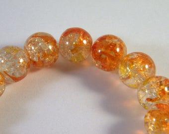 10 pearls 10 mm transparent 2 CR1 Orange Crackle Glass
