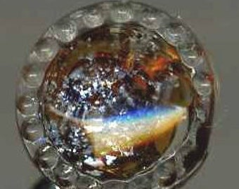 Antique Button Radiant Glass with Silver Foil