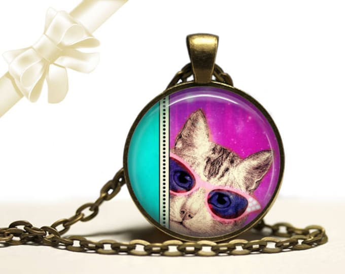 Cat's on Catnip brass Pendant Necklace Free Shipping Gifts for her