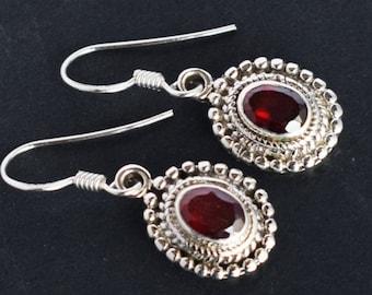 Luxurious Red Garnet Gemstone Earring Handmade Jewellery, 925 Solid Sterling Silver Earring Girls Designer Jewellery, Women Earring FSJ-1405