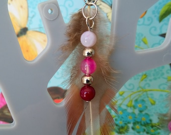 Natural pheasant feather, pink agate earrings