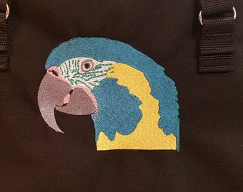 Original Embroidered Blue-throated Macaw, heavy duty zipper topped tote