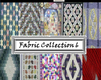 Digital Scrapbook Paper Pack 6 - FABRIC PATTERN - Instant Download