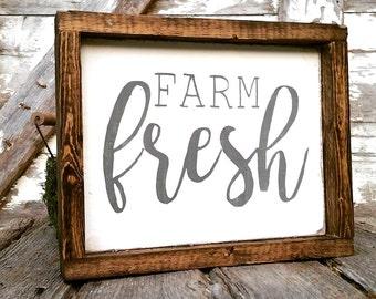 Farmhouse Sign   Farm Fresh Sign   Farmhouse Decor   Cottage Kitchen   Whitewash Sign   French Country Kitchen   Farmhouse Kitchen Sign