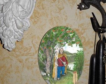 Celtic Rowan  Tree, Oval Tile Wall Hanging