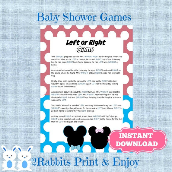 Baby shower left right game ~ gender reveal left or right baby shower game instant