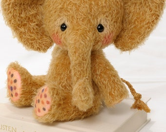 Mohair Stuffed Elephant pdf Pattern - Toffee - Instant Download