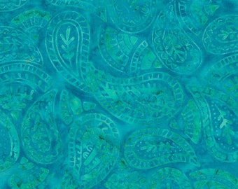 Half Yard Tonga Batik Fabric-Aruba Paisley-Blue-Timeless Treasures