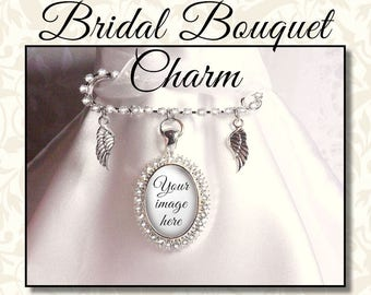 Sparkly Bridal Charm Memorial Pin, Wedding Bouquet Memory Charm with Angel Wings, Custom Bride's Bouquet Jewelry, Kilt Pin, Bridal Keepsake