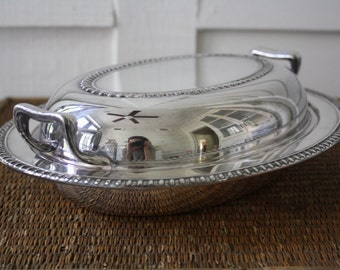 silver plated chafing bowl, chafing dish, silver covered dish, covered dish, silver casserole dish
