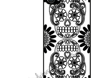Case for Your Choice of Apple iPhone 4/ 4s / 5 / 6 / 6 Plus + / 7 Day of the Dead Black White Dia de los Muertos SKELETON  - Rubber Silicone