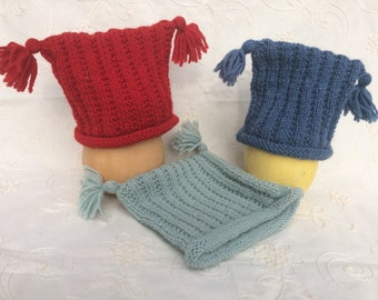 Wool ribbed  knit baby hat