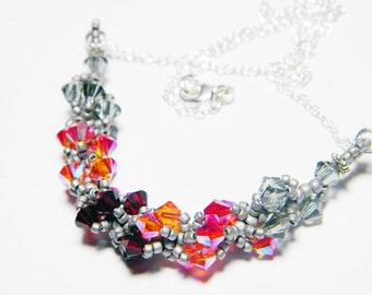 "Hunger Games Inspired Swarovski Crystal Necklace Beadweaving Sterling Silver -  ""Fire is Catching"""