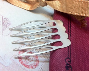 27 x 39 mm Silver Plated Comb Findings (.sg)