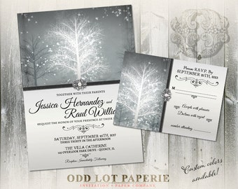 Winter Wonderland Wedding Invitation Suite, Digital Printable Stationery, Snowflakes and trees, Winter Wedding, Holiday Wedding, DIY