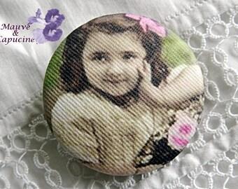 Button in retro girl cloth, 32 mm / 1.25 in diameter