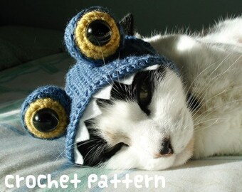 CROCHET PATTERN - Pet Hat Costume - PDF Instant Download - Monster Cat - Cute Halloween Disguise