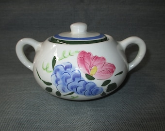 Stangl FRUIT & FLOWERS Hand Painted Sugar Bowl with Lid (Vintage 1950s)