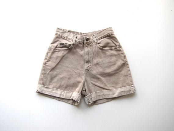 "Beige Jean Shorts Vintage 90s Cuffed Denim Shorts High Rise Minimal Denim Summer Shorts High Waist Womens Waist 28"""