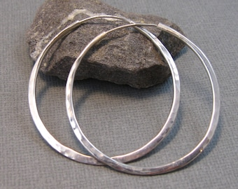 Self Locking Sterling Silver Hammered Hoops, Artisan Hand Forged Continuous Hoops, 2 inch large hammered hoops in sterling silver