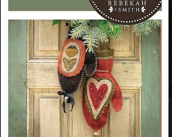 Merry Mittens Wool Applique Pattern by Rebekah Smith