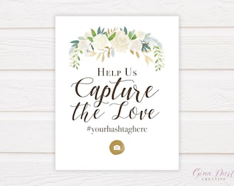 Creme Naturale - wedding hashtag sign instagram social media photo booth, floral, cream, white, greenery, elegant, calligraphy, 8x10