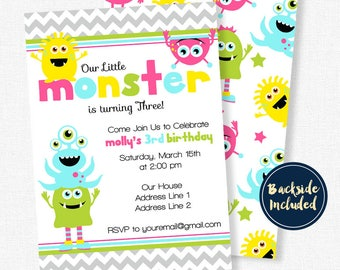 Monster Party Invitation, Little Monster 1st Birthday, Monster Birthday Invitation, Monster Bash Party