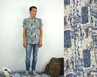 80's vintage men's blue patterned bohemian shirt