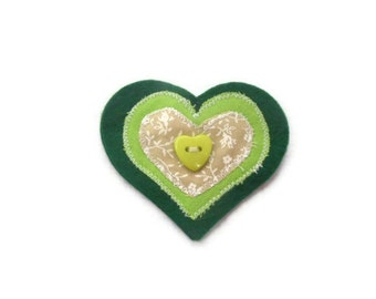 Heart Brooch with Button. Handmade in Lincolnshire Fens.  UK Seller