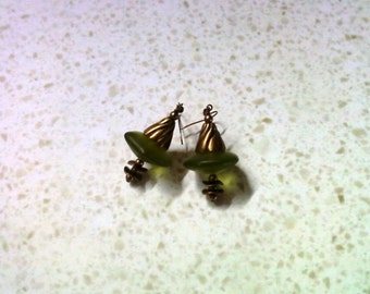 Chunky Olive Green Earrings (1610)