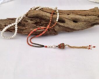 Coral mala necklace