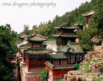 Landscape Photography, Chinese Rooftops Boho Art, Chinoiserie Asian Art, Architectural Art, Mountain Landscape Print, Boho Wall Art