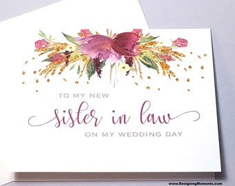 Sister in Law Thank You Card, Wedding Day To my New Sister Card, Sister in Law Thank You, Sister, Wedding Day Card - FLORENCE