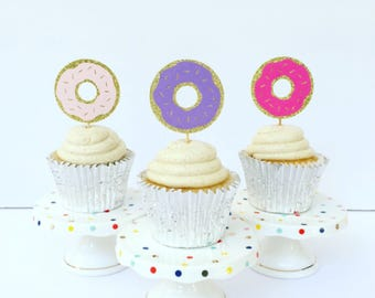 Donut Cupcake Toppers / Oh Baby / Baby Sprinkle / Set of 12