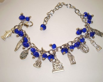 Cobalt Blue Faceted Crystal Holy Mary Charm Bracelet Catholic Jewelry Gift