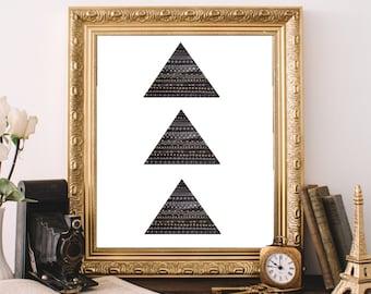Geometric Art Print, Printable Wall Art, Minimalist Decor, Tribal Style Art,  Triangle Pattern Print