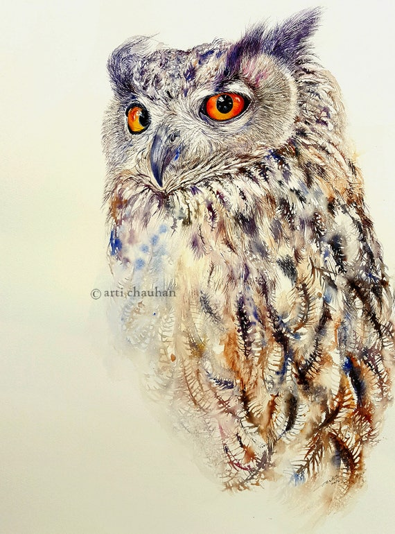 Owl Art Watercolour Painting Original Art Owl Painting by Artist