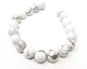White Howlite Round Beads. Semi-Precious Gemstones. 6mm, 8mm or 10mm.