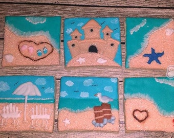 Beach themed Sandcastle Decorated Sugar Cookies  -1 dozen