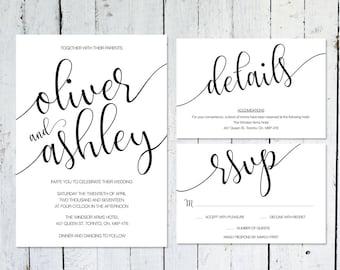 Wedding Invitation Set, Modern, RSVP Card, Details Card, Printable, Wedding Suite, Typography, Calligraphy