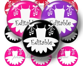 Dance, Ballet, Editable Bottle Cap Images, Digital Collage Sheet, Instant Download, 1 Inch circles,  4x6 Collage Sheet Ballet Slippers, Tutu
