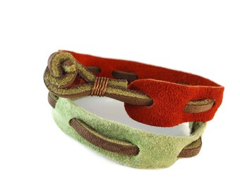 Brown Leather and Suede Bracelet Green or Orange, Suede Jewelry Casual Bracelet Woven Design, Unisex Accessories for Friendship