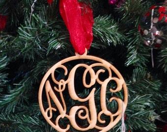 Wooden Monogram Ornaments