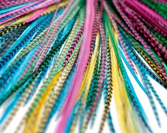 20 Real Feather Hair Extensions : B-Grade Mix #015 + Rings/Loop