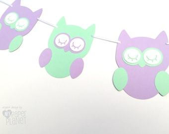 Sleepy Owl Garland in Green and Purple. Baby shower or birthday party, bunting, banner, dessert table. Owl party banner. Lavender and Mint.