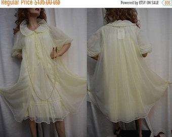 SPRING SALE SHADOWLINE Peignoir, Sunny Yellow, Robe, Nightgown, Nos With Tags,Chiffon, Double Nylon, So Feminine! Vintage 60s, Small, Medium