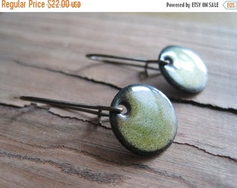 Short dangle earrings, Green Copper Enamel Earrings, Drop Earrings, Nickel Free, Kidney Ear Wire Handmade in Wisconsin